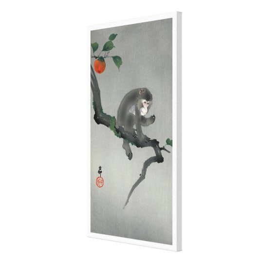柿に猿, 古邨 Monkey on Persimmon tree, Ohara Koson Canvas Print