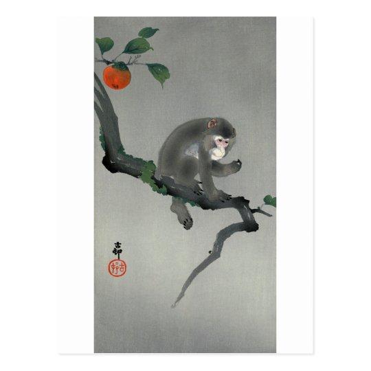 柿に猿, 古邨 Monkey on Persimmon tree, Ohara Koson Postcard