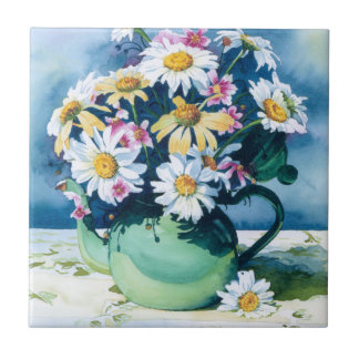 0006 Daisies in Green Teapot Tile