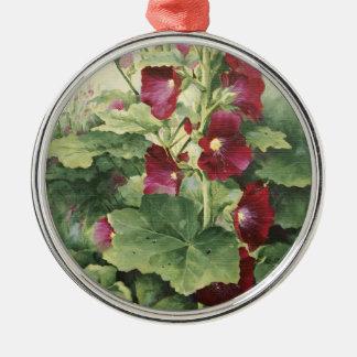 0536 Burgundy Hollyhocks Ornament