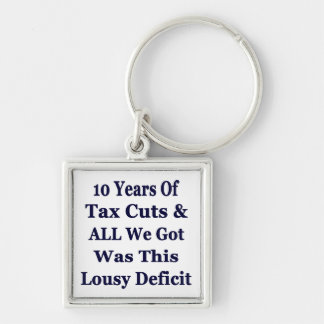 !0 Years of The Bush Tax Cuts for the Wealthy Silver-Colored Square Key Ring