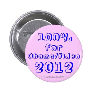 100% for Obama/Biden 2012 6 Cm Round Badge