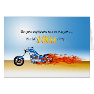 100th Birthday Flaming Motorcycle Party Invitation