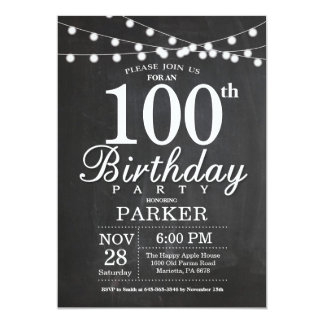 100th Birthday Invitation Chalkboard String Lights