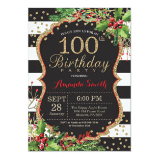 100th Birthday Invitation Christmas Red Black Gold