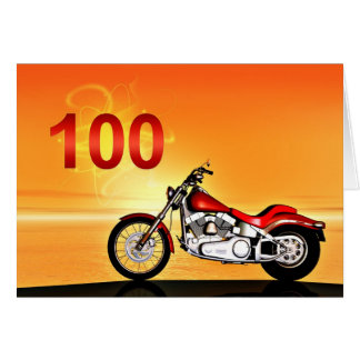 100th birthday Motorcycle sunset Card