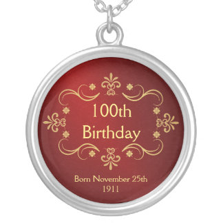 100th Birthday Necklace - Vintage Frame Pendant