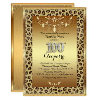 100th,Birthday Party 100th, Royal Cheetah gold+ Card