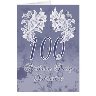100th Birthday Party Invitation, Blue And White Fl Card