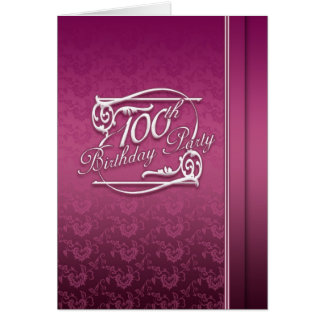 100th Birthday Party, Modern Invitaion Card
