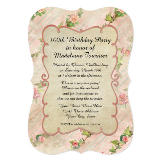 100th Birthday Party Scroll Frame w Vintage Roses Announcement