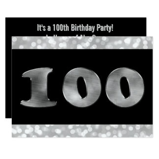 100th Birthday Party| Silver Number 100 Card