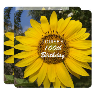 100th Birthday Party Sunflower Invitation