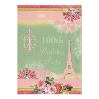 100th Birthday Pink Eiffel Tower and Chandelier Personalized Announcements