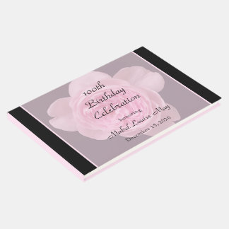 100th Birthday Pink Rose Guest Book