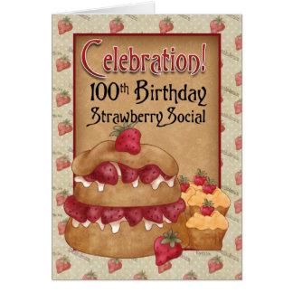 100th Birthday Strawberry Social Invitation Card