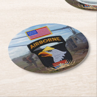 101st airborne screaming eagles vietnam nam war round paper coaster