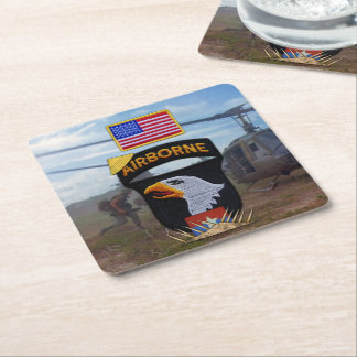 101st airborne screaming eagles vietnam nam war square paper coaster