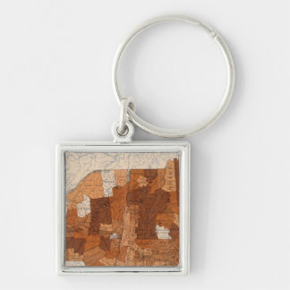 103 Cancer, tumor NY, NJ, New England Silver-Colored Square Key Ring