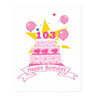 103 Year Old Birthday Cake Postcard