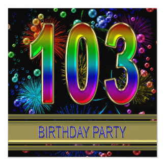 103rd Birthday party Invitation with bubbles