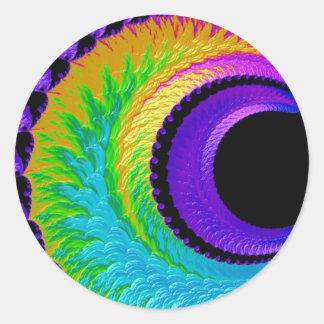 108-39 metallic rainbow crescent moon round sticker