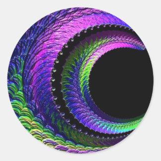108-40 dark rainbow crescent moon round sticker