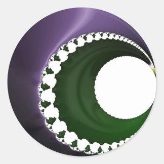 108-42 purple & green crescent moon round sticker