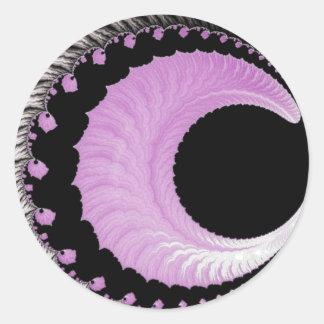 108-45 pink crescent moon round sticker