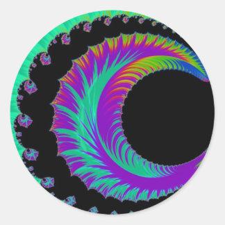 108-47 blue & purple crescent moon round sticker