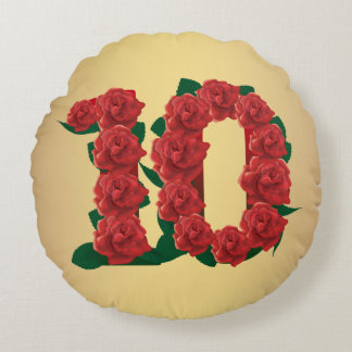 10 number anniversary 10th red rose custom text round cushion