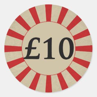 £10 (Pound) Round Glossy Price Tag