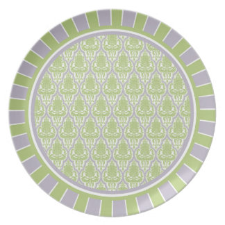 "10"" Shabby Chic Damask Plate in Green & Lilac"