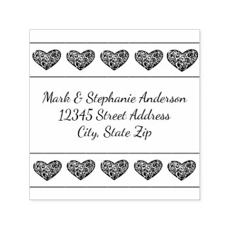 10 Swirly Hearts - Square Self Inking Stamp