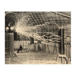 """10""""x8"""" Nikola Tesla in His Lab Wood Wall Art"""