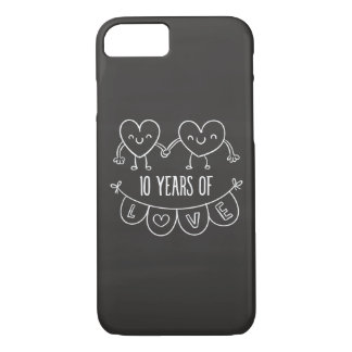 10th Anniversary Gift Chalk Hearts iPhone 7 Case