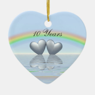 10th Anniversary Tin Hearts Christmas Ornament