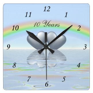 10th Anniversary Tin Hearts Clocks