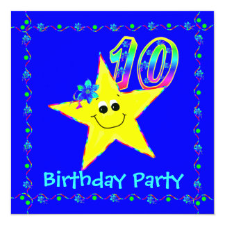 10th Birthday Party Smiley Stars Invitations