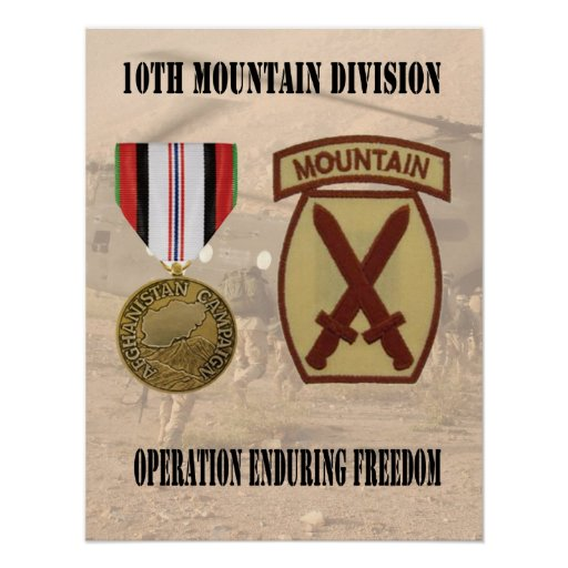 10th Mountain Division Operation Enduring Freedom  Posters