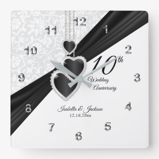 10th Onyx and White Wedding Anniversary Keepsake Square Wall Clock