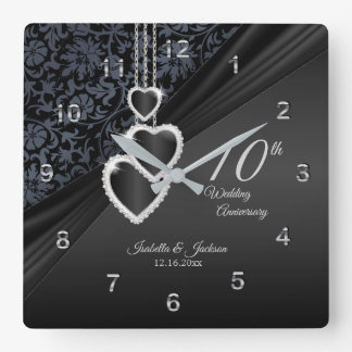 10th Onyx Wedding Anniversary Keepsake 2 Square Wall Clock