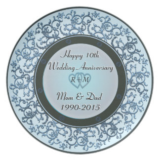 10th Wedding Anniversary Party Plates