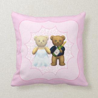 10th Wedding Anniversary Teddy Bear Couple Cushion