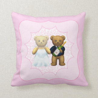10th Wedding Anniversary Teddy Bear Couple Throw Pillow