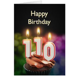 110th Birthday card with Candles