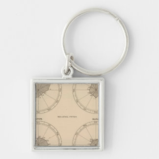 116 Deaths whooping cough Silver-Colored Square Key Ring