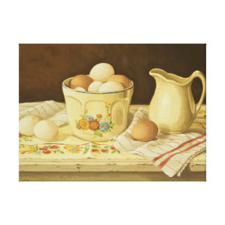 1175 Bowl of Eggs & Pitcher Wrapped Canvas Print