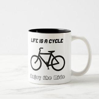 "11 oz Mug, ""Life is a Cycle"" Two-Tone Coffee Mug"