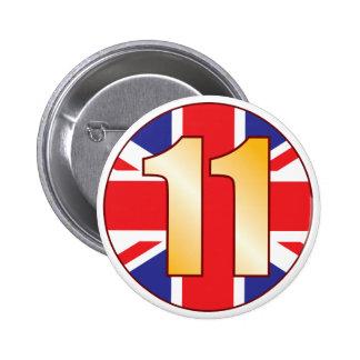 11 UK Gold 6 Cm Round Badge